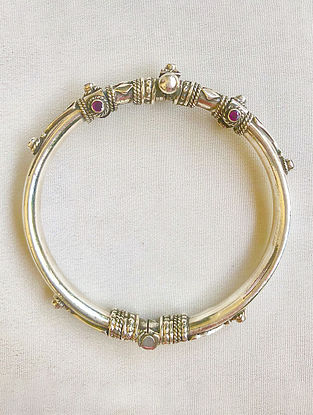 Red Sterling Silver Bangle (Size: 2/4)