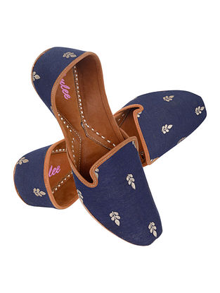 Navy Blue Gold Handcrafted Suede Leather Juttis for Men