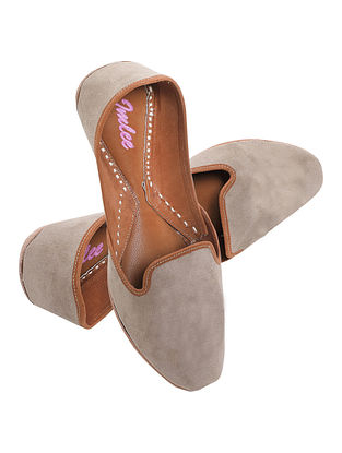 Grey Handcrafted Suede Leather Juttis for Men