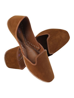 Rust Handcrafted Suede Leather Juttis for Men