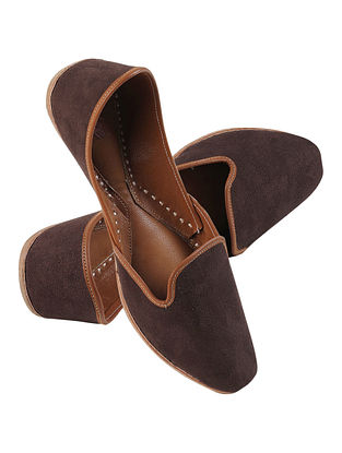 Brown Handcrafted Suede Leather Juttis for Men