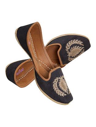Black Gold Handcrafted Suede Leather Juttis for Men