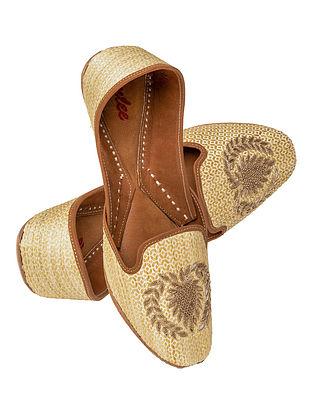 Beige Gold Handcrafted Suede Leather Juttis for Men