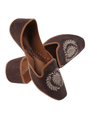 Brown Gold Handcrafted Suede Leather Juttis for Men