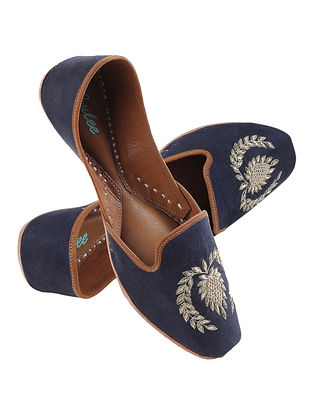 Blue Gold Handcrafted Suede Leather Juttis for Men