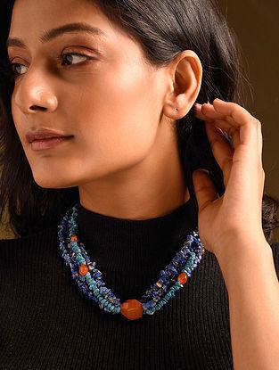 Blue Orange Lapis Carnelian Beaded Necklace