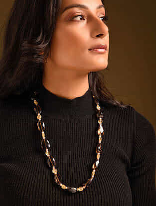 Brown Yellow Citrine Smoky Topaz Beaded Necklace With Pearls