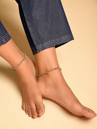 Grey Orange Labradorite Turquoise Carnelian Beaded Anklets