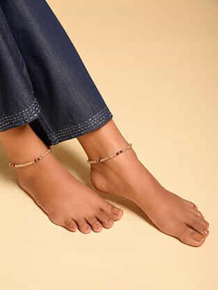 Yellow Purple Citrine Amethyst Carnelian Beaded Anklets