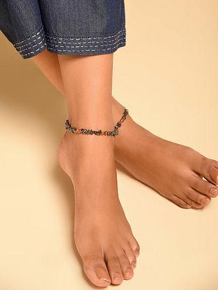 Grey Orange Hematite Carnelian Beaded Anklets