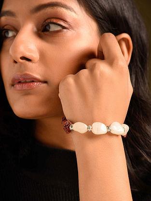 White Brown Jasper Agate Beaded Bracelet