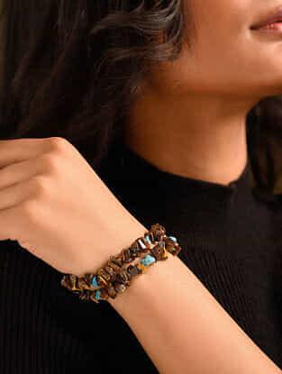 Brown Yellow Tiger Eye Turquoise Beaded Bracelet