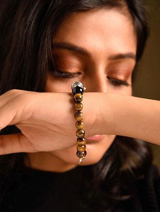 Brown Black Tiger Eye Agate Silver Tone Beaded Bracelet