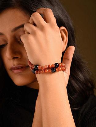 Orange Black Carnelian Agate Beaded Bracelet