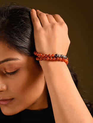 Grey Orange Carnelian Pearl Silver Tone Beaded Bracelet