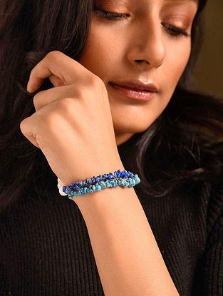 Blue White Agate Turquoise Lapis Beaded Bracelet