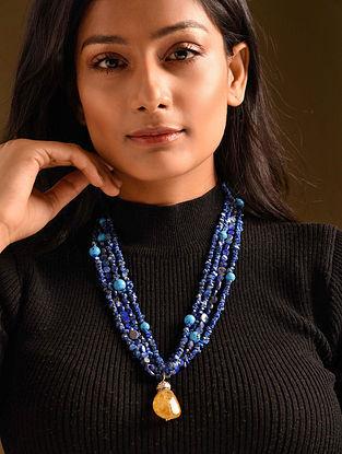 Blue Yellow Lapis Citrine Turquoise Beaded Necklace