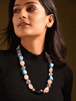 Pink White Blue Rose Quartz Crystal Smoky Turquoise Beaded Necklace