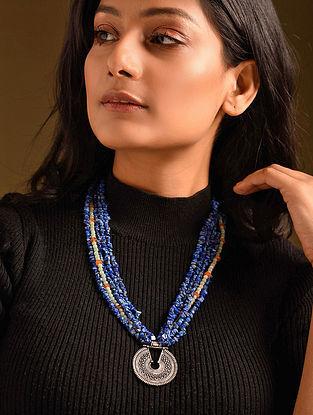 Blue Orange Lapis Aventurine Carnelian Silver Tone Beaded Necklace