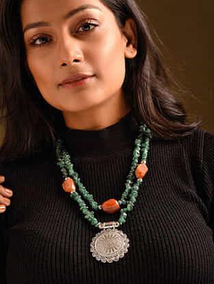 Green Orange Aventurine Agate Silver Tone Beaded Necklace