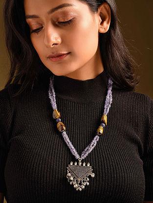 Purple Yellow Tanzanite Tiger Eye Silver Tone Beaded Necklace