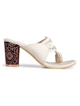 Beige Handcrafted Faux Leather Kolhapuri Heels