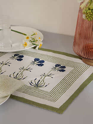 Olive Cotton Table Mat Set of 2 (12inX18in)