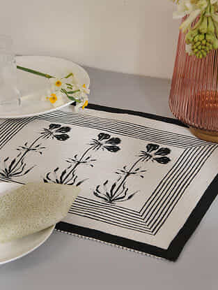 Black Cotton Table Mat Set of 2 (12inX18in)