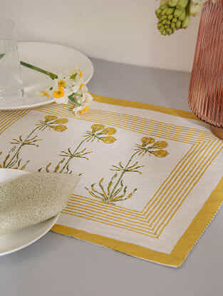 Yellow Cotton Table Mat Set of 2 (12inX18in)