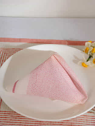 Pink Cotton Table Napkin Set of 6(15inX15in)