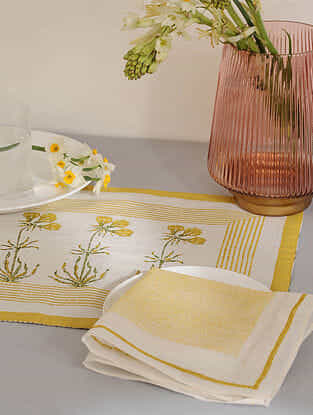 Yellow Cotton Placemats and Napkins (Set of 4)