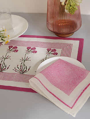 Magenta Cotton Placemats and Napkins (Set of 4)