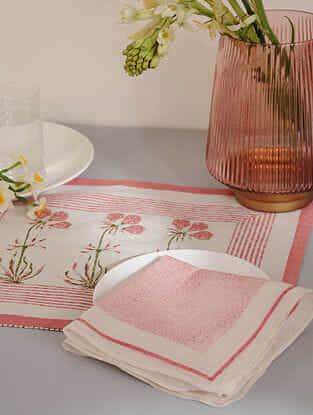 Pink Cotton Placemats and Napkins (Set of 4)