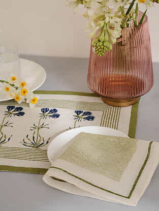 Olive Cotton Placemats and Napkins (Set of 4)