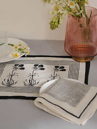 Black Cotton Placemats and Napkins (Set of 4)