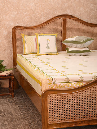 Yellow Cotton Bed Cover (108inX90in)