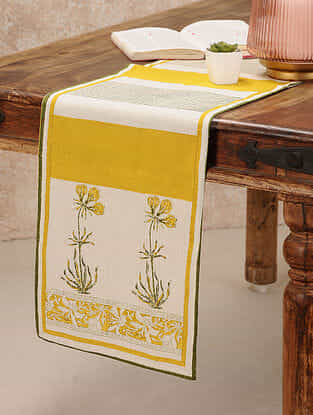 Yellow Cotton Table Runner (11inX47in)