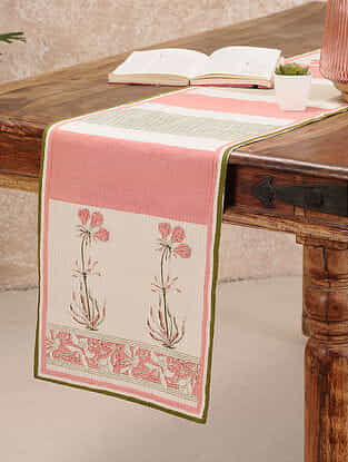 Pink Cotton Table Runner (11inX47in)