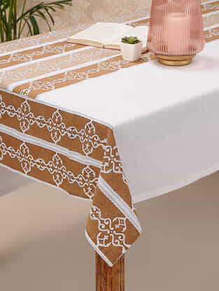 Brown Cotton Single Table Cover(88inX60in)