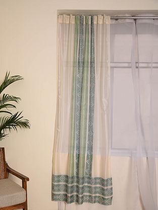 Blue Chanderi Curtain (96inX45in)