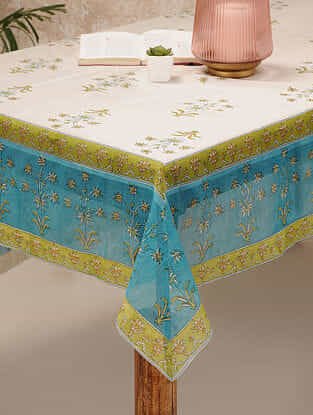 Blue Chanderi Table Cover (88inX60in)