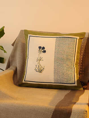 Olive Indigo Cotton Cushion Cover Set of 2 (16inX16in)