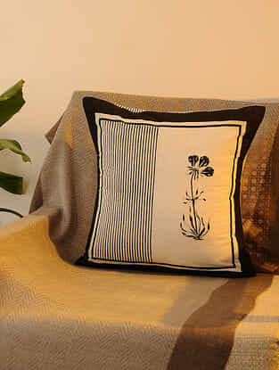 Black Cotton Cushion Cover Set of 2 (16inX16in)