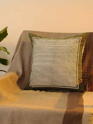 Olive Cotton Cushion Cover Set of 2 (16inX16in)