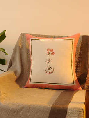 Pink Cotton Cushion Cover Set of 2 (16inX16in)
