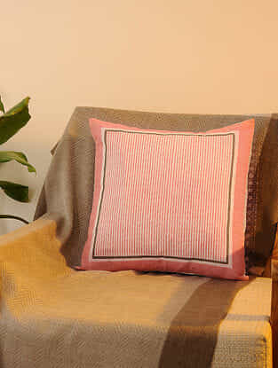 Pink Cotton Cushion Cover Set of 2(16inX16in)