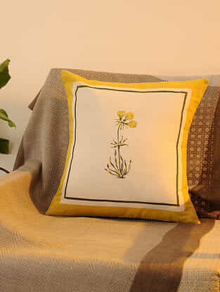 Yellow Cotton  Cushion Cover Set of 2 (16inX16in)