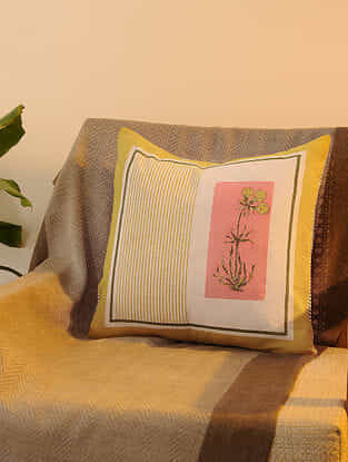 Yellow Cotton  Cushion Cover Set of 2(16inX16in)