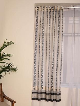 Black Chanderi Curtain Set of 2 (79inX45in)