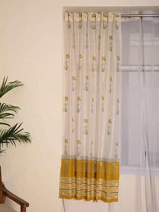 Yellow Chanderi Curtain Set of 2(79inX45in)